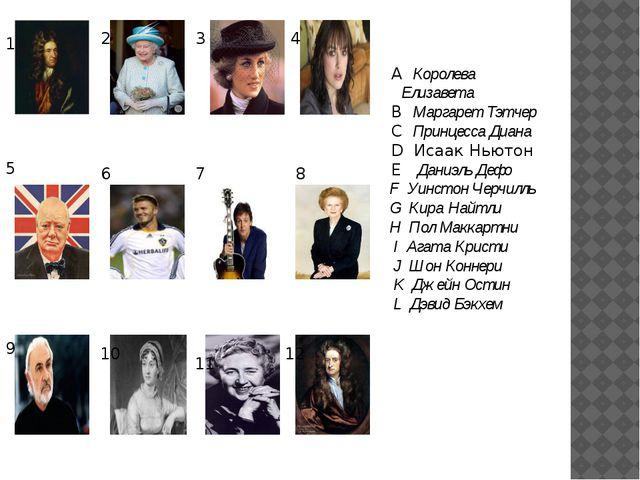 A Королева Елизавета B Маргарет Тэтчер C Принцесса Диана D Исаак Ньютон E Да...