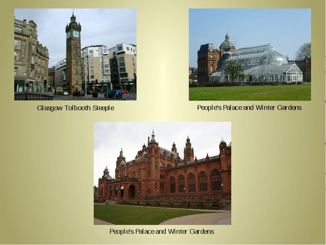 Glasgow Tolbooth Steeple People's Palace and Winter Gardens People's Palace...