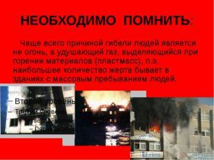 НЕОБХОДИМО ПОМНИТЬ: Чаще всего причиной гибели людей является не огонь, а уду