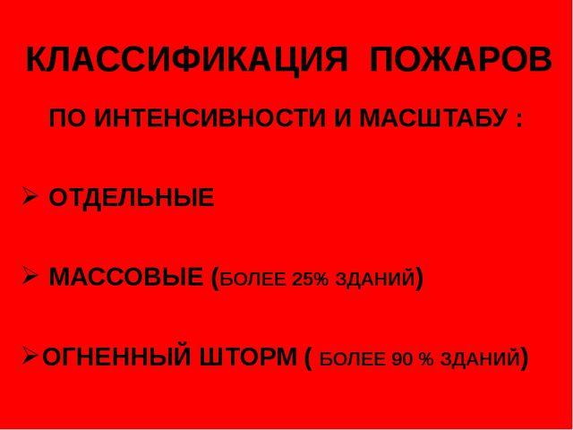 КЛАССИФИКАЦИЯ ПОЖАРОВ ПО ИНТЕНСИВНОСТИ И МАСШТАБУ : ОТДЕЛЬНЫЕ МАССОВЫЕ (БОЛЕЕ...