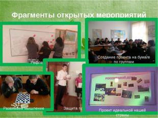 Фрагменты открытых мероприятий Создание проекта на бумаге по группам Рефлекси