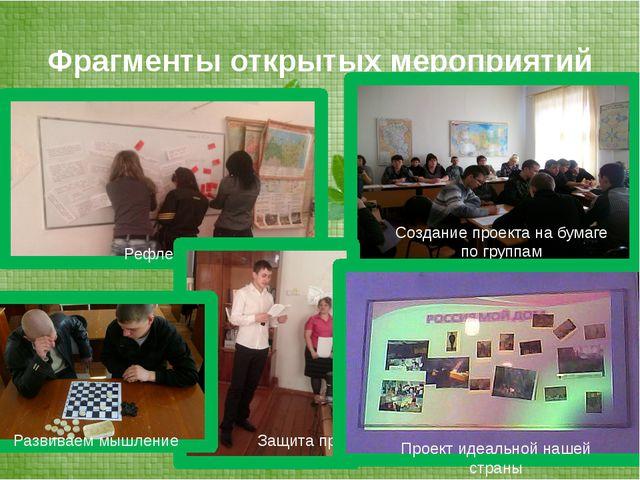 Фрагменты открытых мероприятий Создание проекта на бумаге по группам Рефлекси...