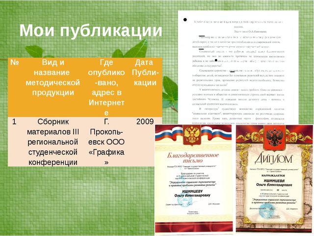 Мои публикации № Вид и название методической продукции Гдеопублико-вано, адре...