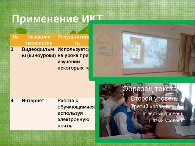 Применение ИКТ № Название технологии Результативность 3 Видеофильмы (киноурок...