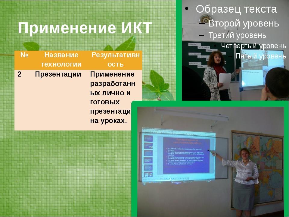 Применение ИКТ № Название технологии Результативность 2 Презентации Применени...