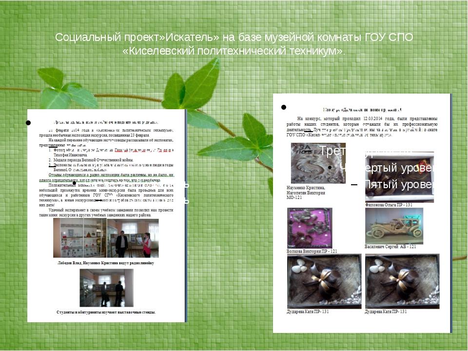 Социальный проект»Искатель» на базе музейной комнаты ГОУ СПО «Киселевский пол...