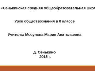 МОБУ «Сенькинская средняя общеобразовательная школа» Урок обществознания в 6