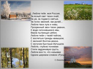 ...Люблю тебя, моя Россия, За ясный свет твоих очей, За ум, за подвиги святые