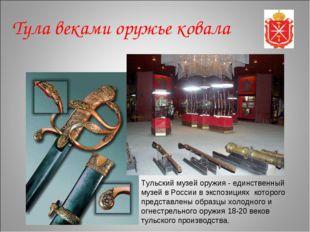 Тульский музей оружия - единственный музей в России в экспозициях которого пр