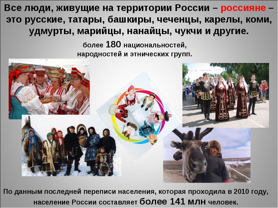 Все люди, живущие на территории России – россияне – это русские, татары, башк...
