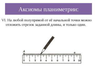 Аксиомы планиметрии: VI. На любой полупрямой от её начальной точки можно отло
