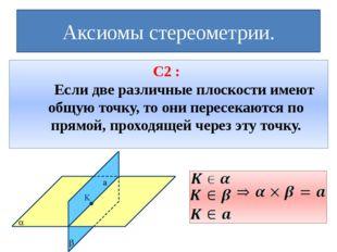 Аксиомы стереометрии. С2 : Если две различные плоскости имеют общую точку, т