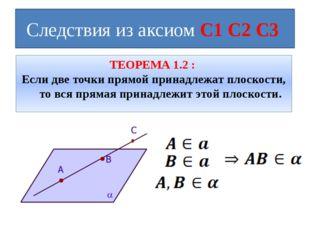 Следствия из аксиом С1 С2 С3 ТЕОРЕМА 1.2 : Если две точки прямой принадлежат