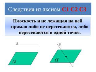 Следствия из аксиом С1 С2 С3 Плоскость и не лежащая на ней прямая либо не пер