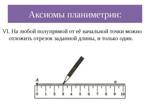 Аксиомы планиметрии: VI. На любой полупрямой от её начальной точки можно отло...