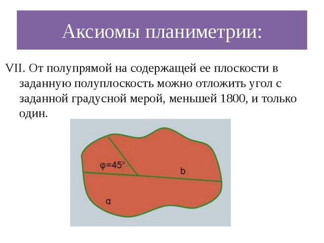 Аксиомы планиметрии: VII. От полупрямой на содержащей ее плоскости в заданную...