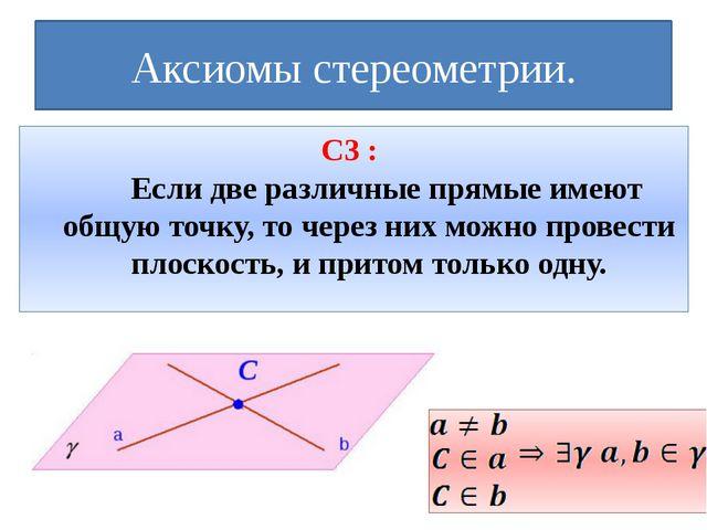 Аксиомы стереометрии. С3 : Если две различные прямые имеют общую точку, то ч...