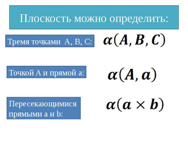 Плоскость можно определить: Тремя точками A, B, C: Точкой A и прямой a: Перес...