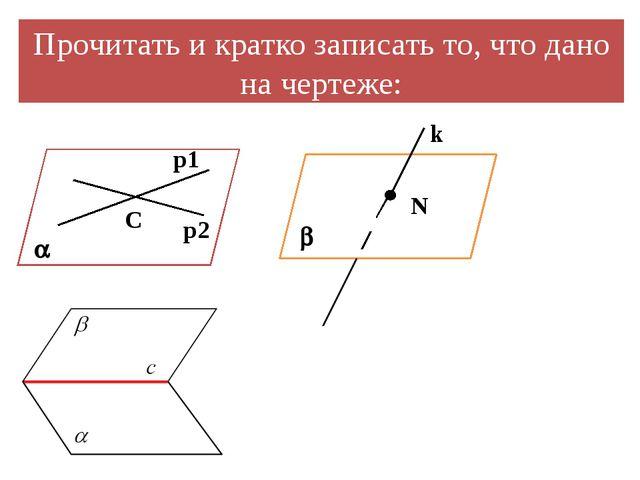 Прочитать и кратко записать то, что дано на чертеже: C p1  p2 N k 