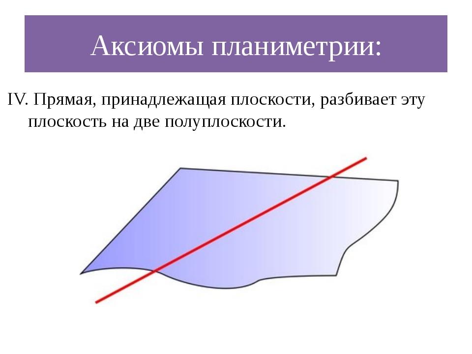 Аксиомы планиметрии: IV. Прямая, принадлежащая плоскости, разбивает эту плоск...