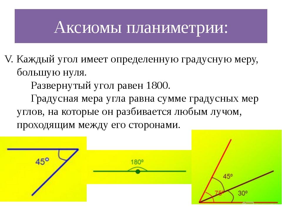 Аксиомы планиметрии: V. Каждый угол имеет определенную градусную меру, большу...