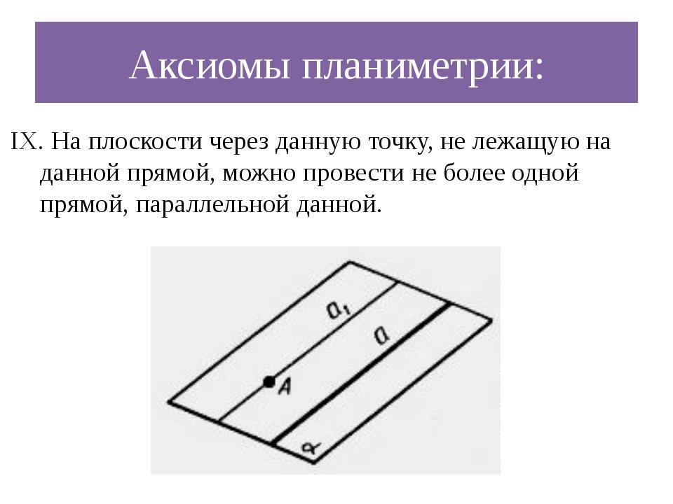 Аксиомы планиметрии: IX. На плоскости через данную точку, не лежащую на данно...