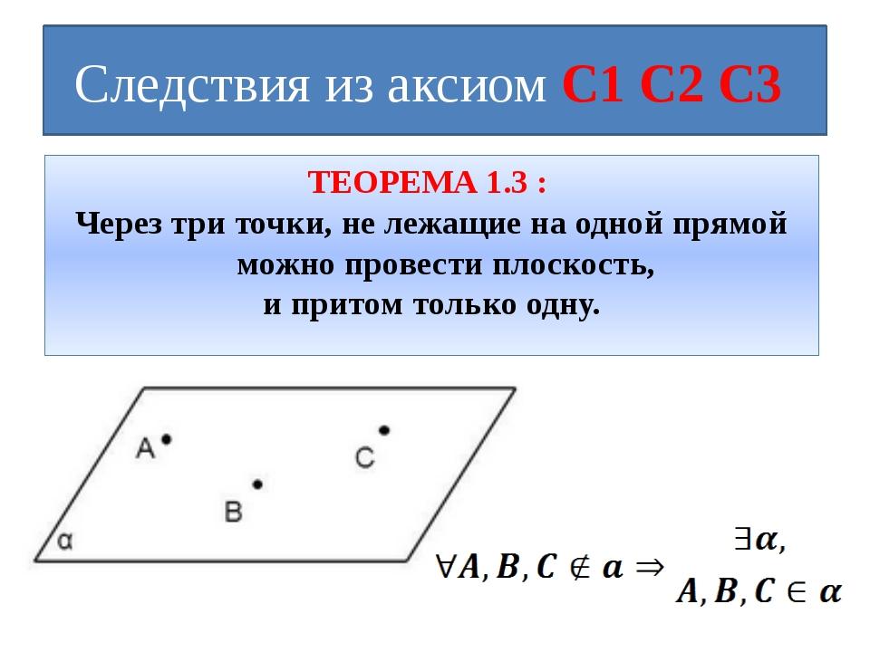 Следствия из аксиом С1 С2 С3 ТЕОРЕМА 1.3 : Через три точки, не лежащие на одн...