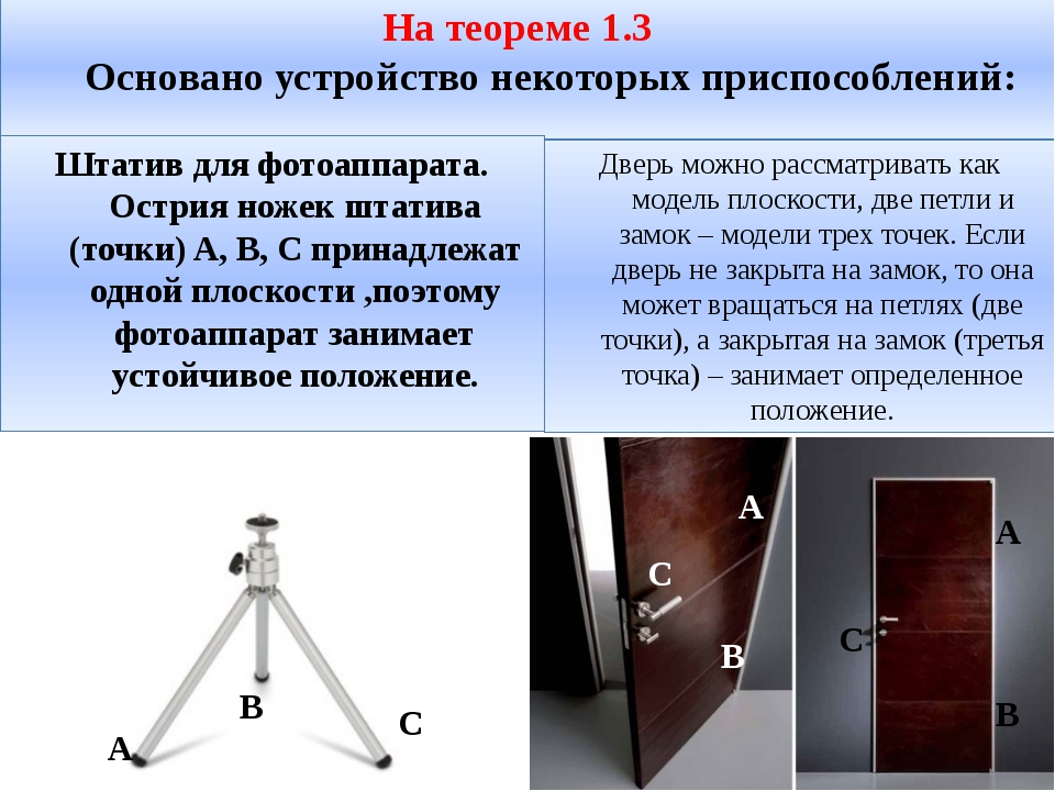 На теореме 1.3 Основано устройство некоторых приспособлений: Штатив для фотоа...