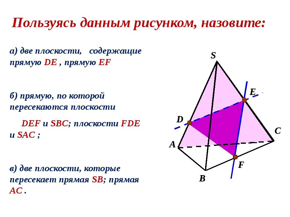 а) две плоскости, содержащие прямую DE , прямую EF б) прямую, по которой пер...