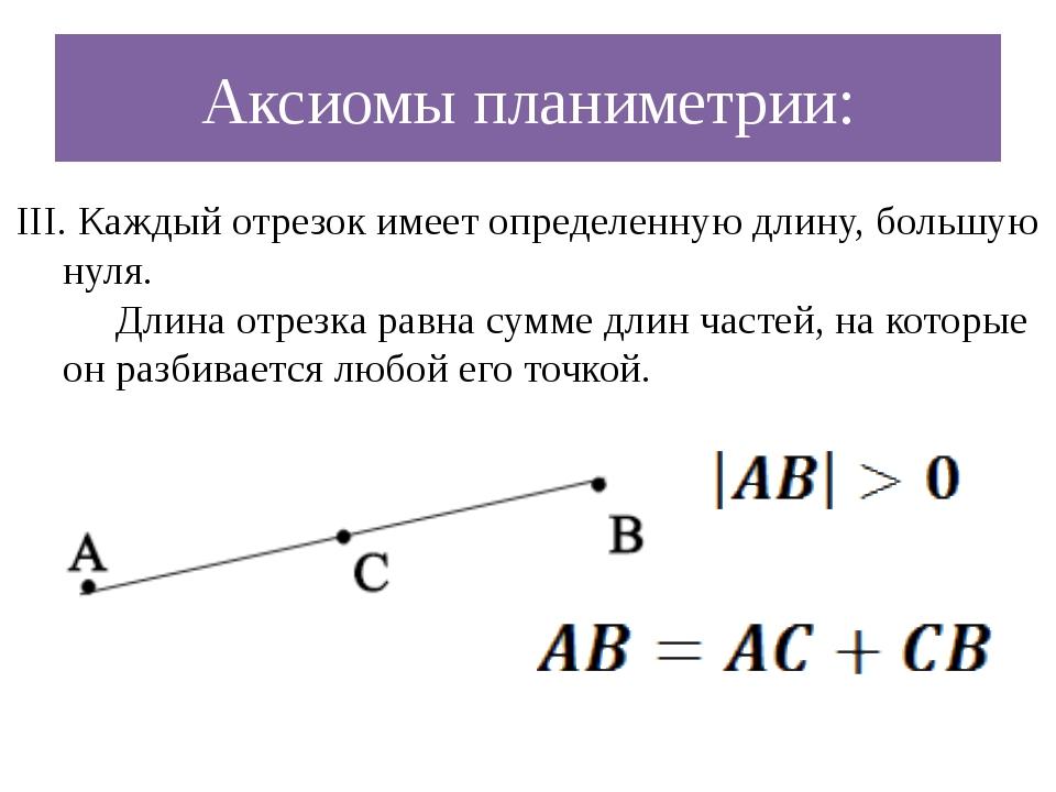 Аксиомы планиметрии: III. Каждый отрезок имеет определенную длину, большую ну...