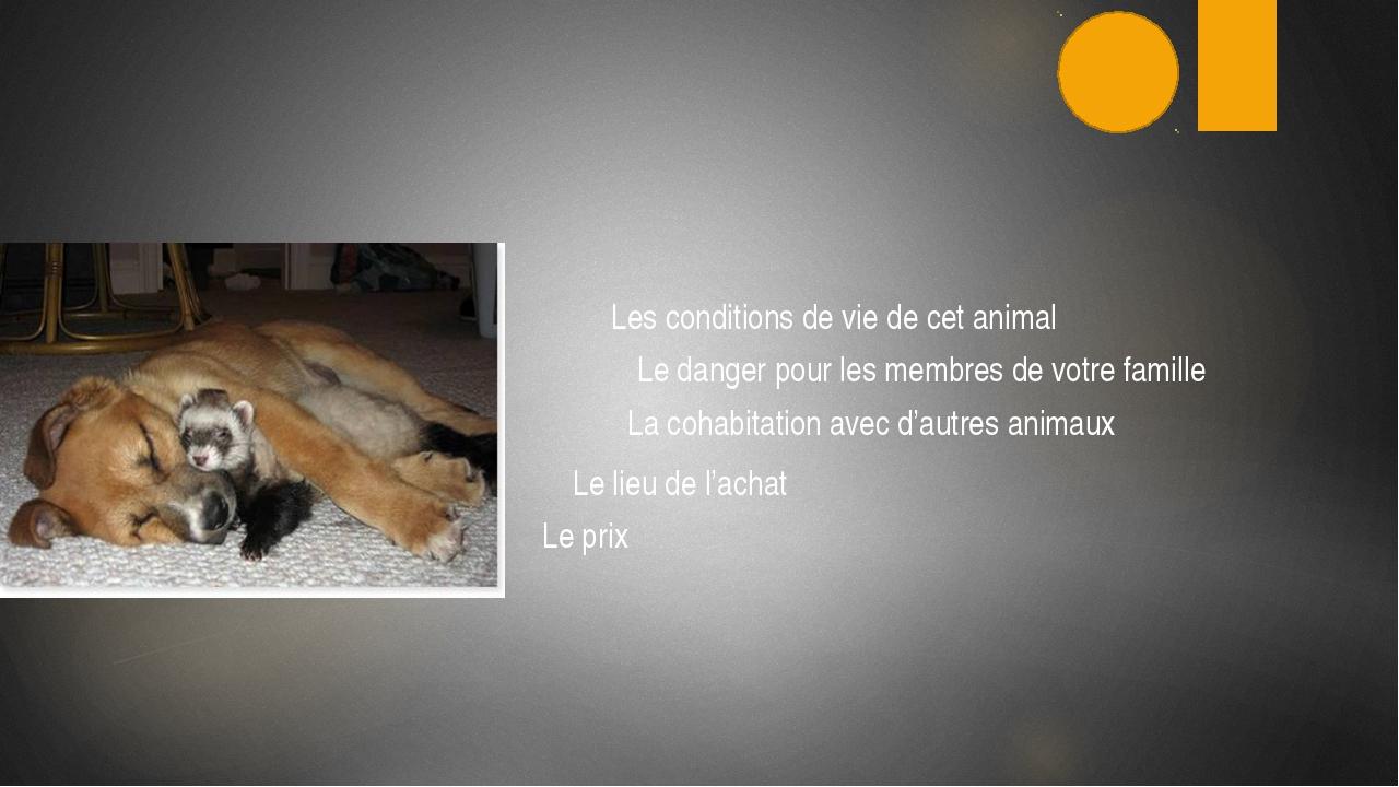Les conditions de vie de cet animal Le danger pour les membres de votre fami...