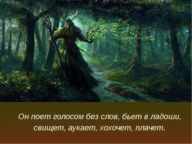 Он поет голосом без слов, бьет в ладоши, свищет, аукает, хохочет, плачет.