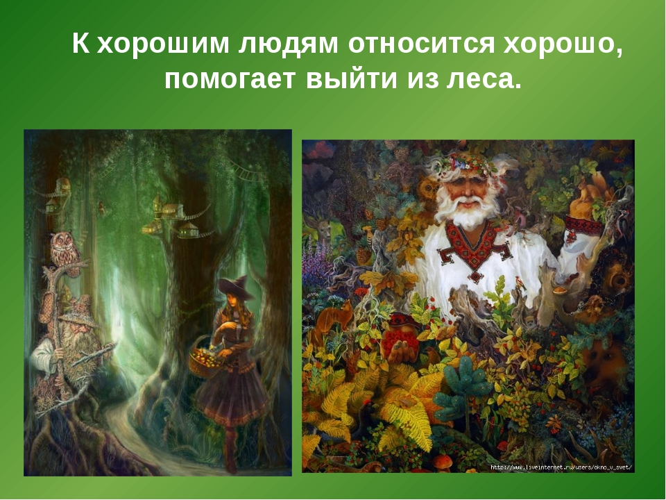 К хорошим людям относится хорошо, помогает выйти из леса.