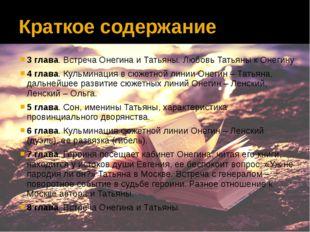 Краткое содержание 3 глава. Встреча Онегина и Татьяны. Любовь Татьяны к Онеги