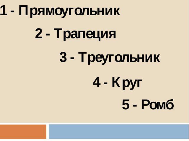 1 - Прямоугольник 2 - Трапеция 3 - Треугольник 4 - Круг 5 - Ромб