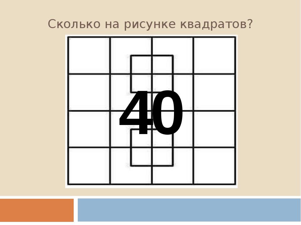 Сколько на рисунке квадратов? 40
