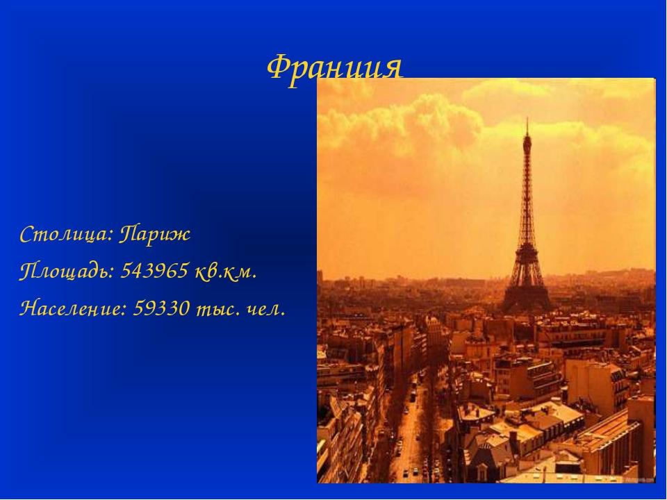 Франция Столица: Париж Площадь: 543965 кв.км. Население: 59330 тыс. чел.