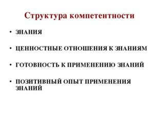 Структура компетентности ЗНАНИЯ ЦЕННОСТНЫЕ ОТНОШЕНИЯ К ЗНАНИЯМ ГОТОВНОСТЬ К П