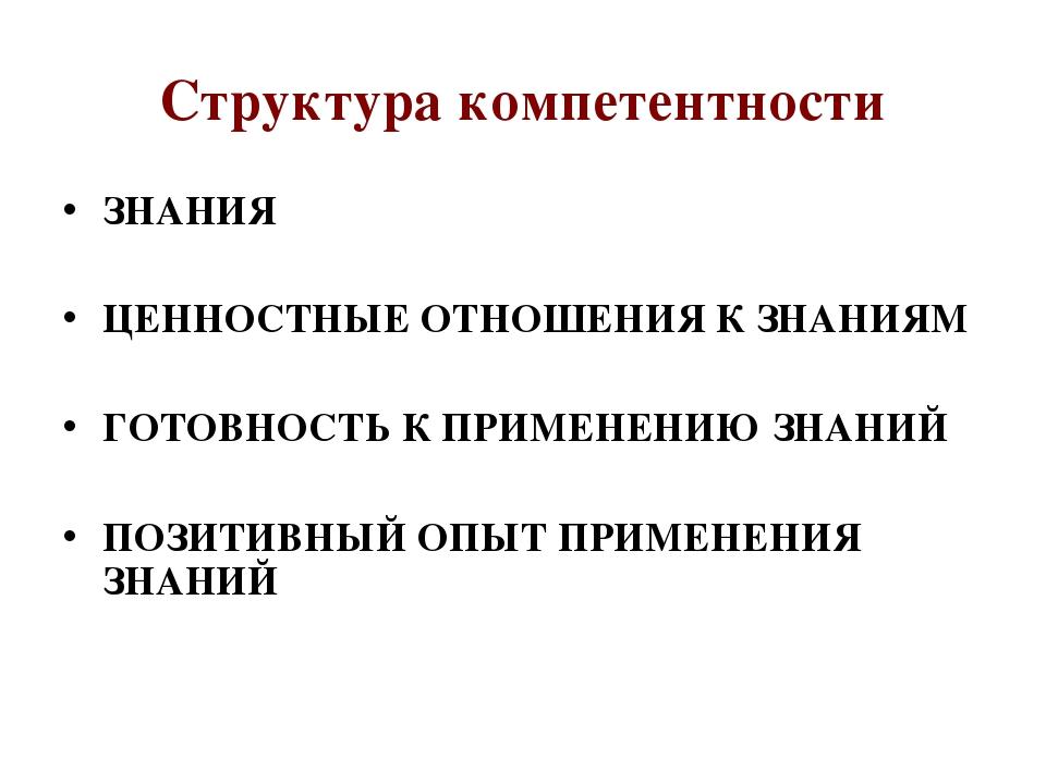 Структура компетентности ЗНАНИЯ ЦЕННОСТНЫЕ ОТНОШЕНИЯ К ЗНАНИЯМ ГОТОВНОСТЬ К П...