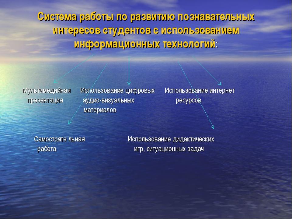 Система работы по развитию познавательных интересов студентов с использование...