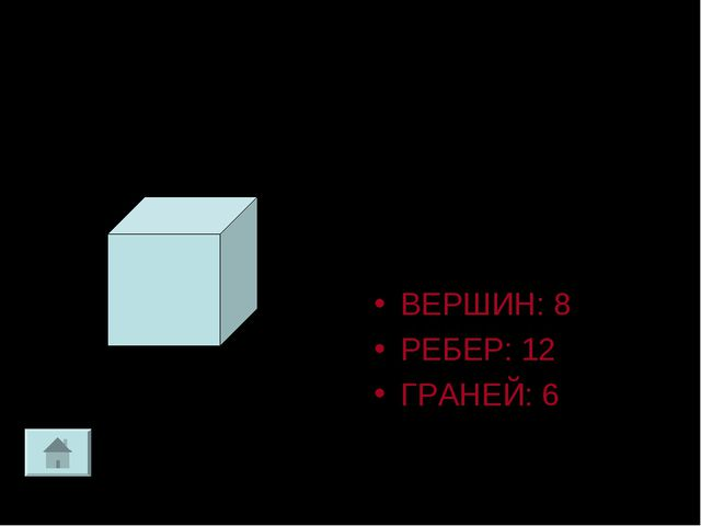 Куб Прямоугольный параллелепипед у которого все ребра равны ВЕРШИН: 8 РЕБЕР:...