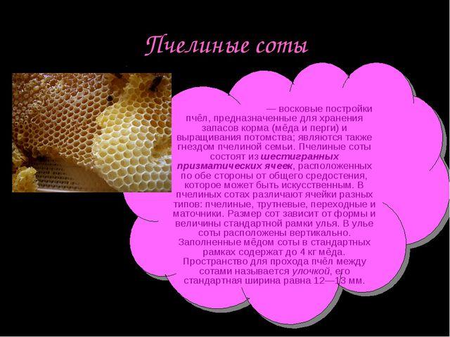 Пчелиные соты Пчели́ные со́ты — восковые постройки пчёл, предназначенные для...