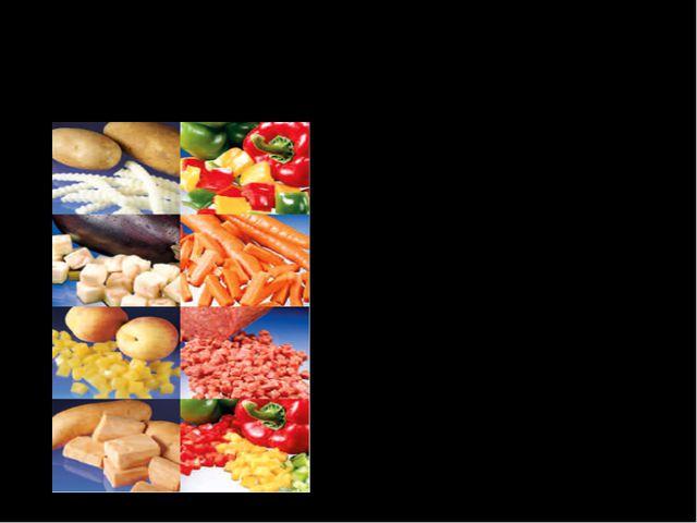 Многогранники в кулинарии Многогранники в кулинарии применяются в нарезке и в...