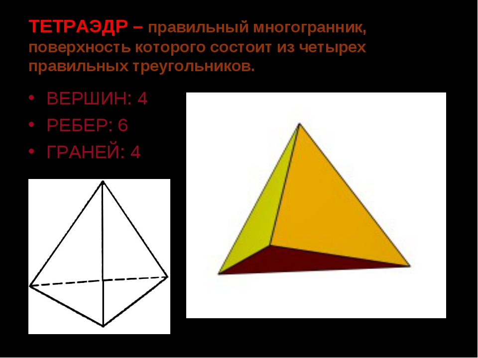 ТЕТРАЭДР – правильный многогранник, поверхность которого состоит из четырех п...