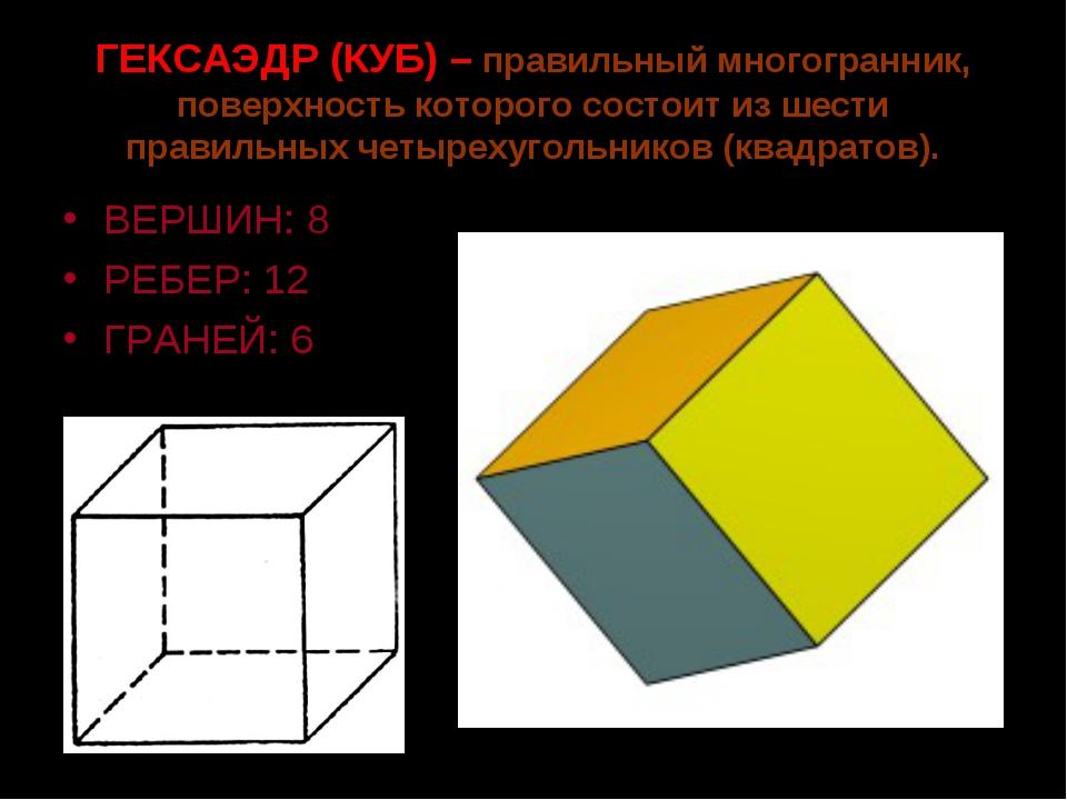 ГЕКСАЭДР (КУБ) – правильный многогранник, поверхность которого состоит из шес...