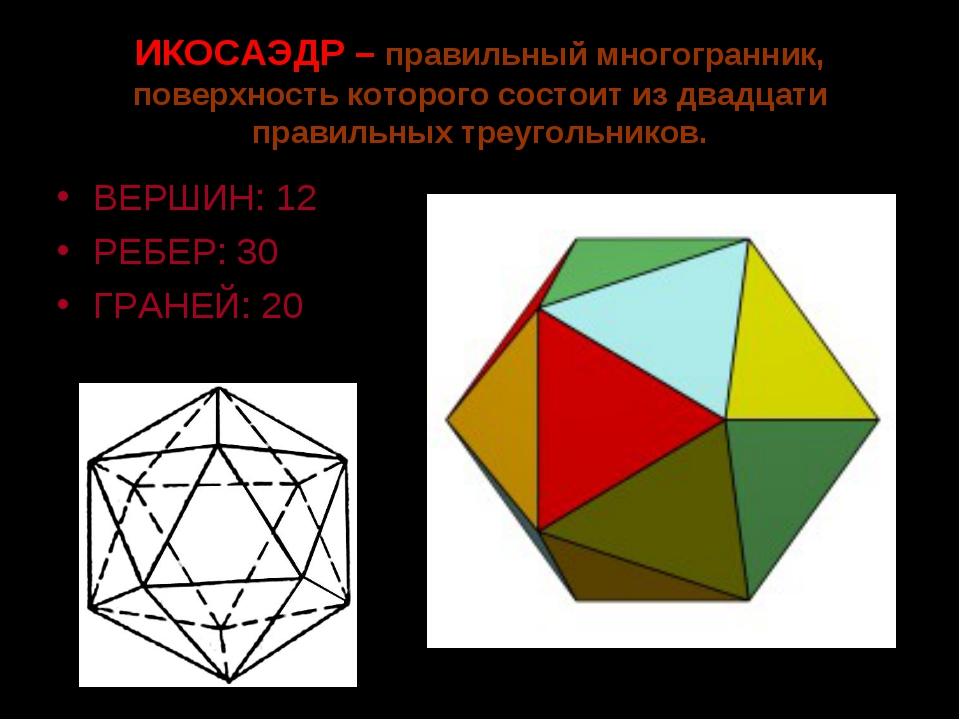 ИКОСАЭДР – правильный многогранник, поверхность которого состоит из двадцати...