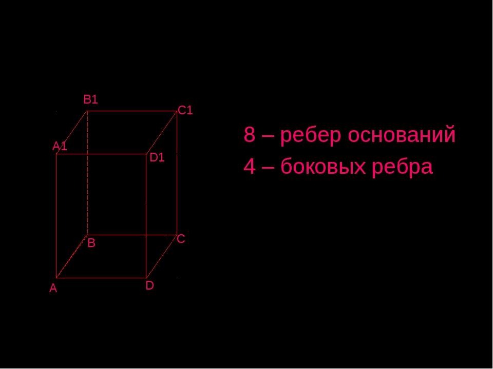 Параллелепипед Имеет: 8 – ребер оснований 4 – боковых ребра B C A D A1 B1 C1...