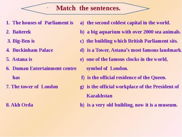 . 1. The houses of Parliament is 2. Baiterek 3. Big-Ben is 4. Buckinham Pala...