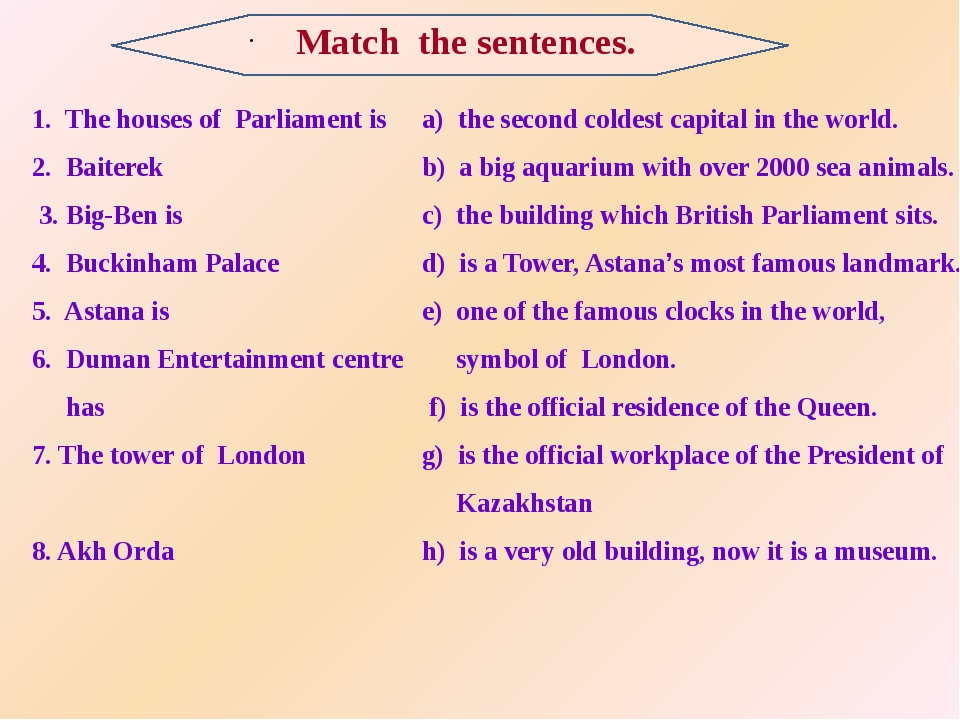 . 1. The houses of Parliament is 2. Baiterek 3. Big-Ben is 4. Buckinham Pala...