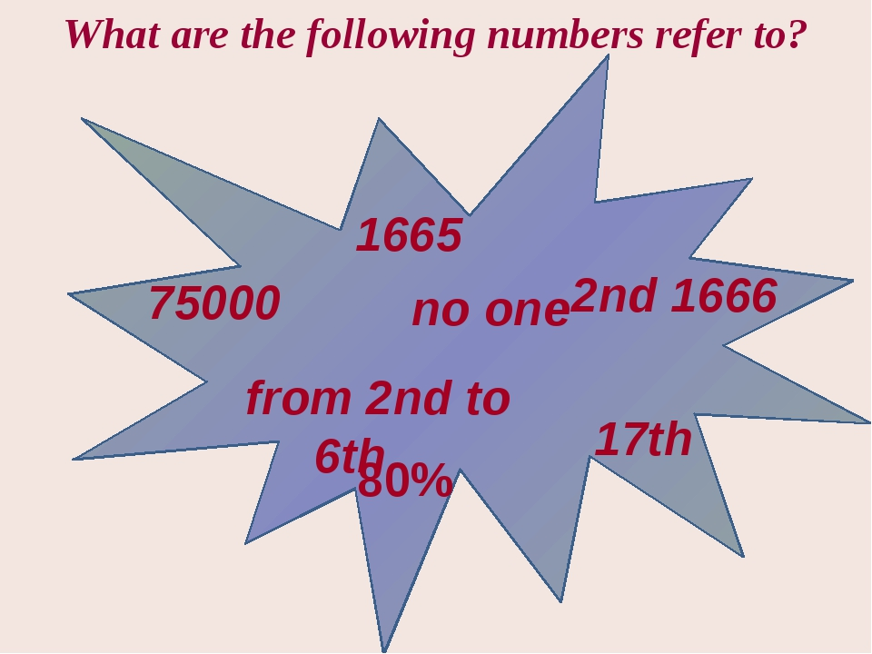 1665 75000 from 2nd to 6th no one 2nd 1666 17th 80% What are the following n...